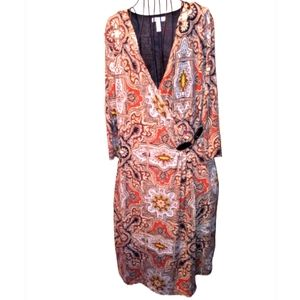 Charter club natural paisley dress&faux leather